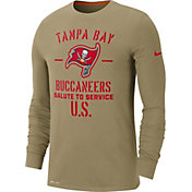Nike Men's Salute to Service Tampa Bay Buccaneers Dri-FIT Beige Long Sleeve Shirt