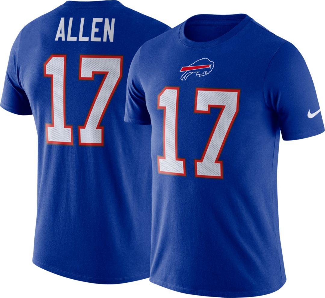 94e5641c Nike Men's Buffalo Bills Josh Allen #17 Logo Royal T-Shirt