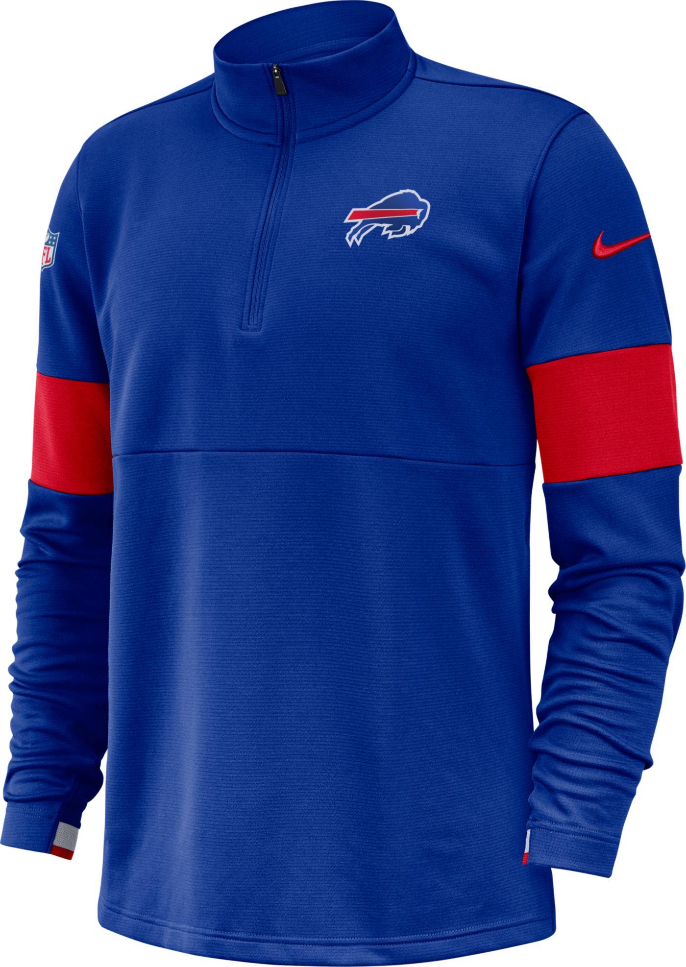 Nike Men's Buffalo Bills Sideline Coach Performance Royal Half-Zip Pullover