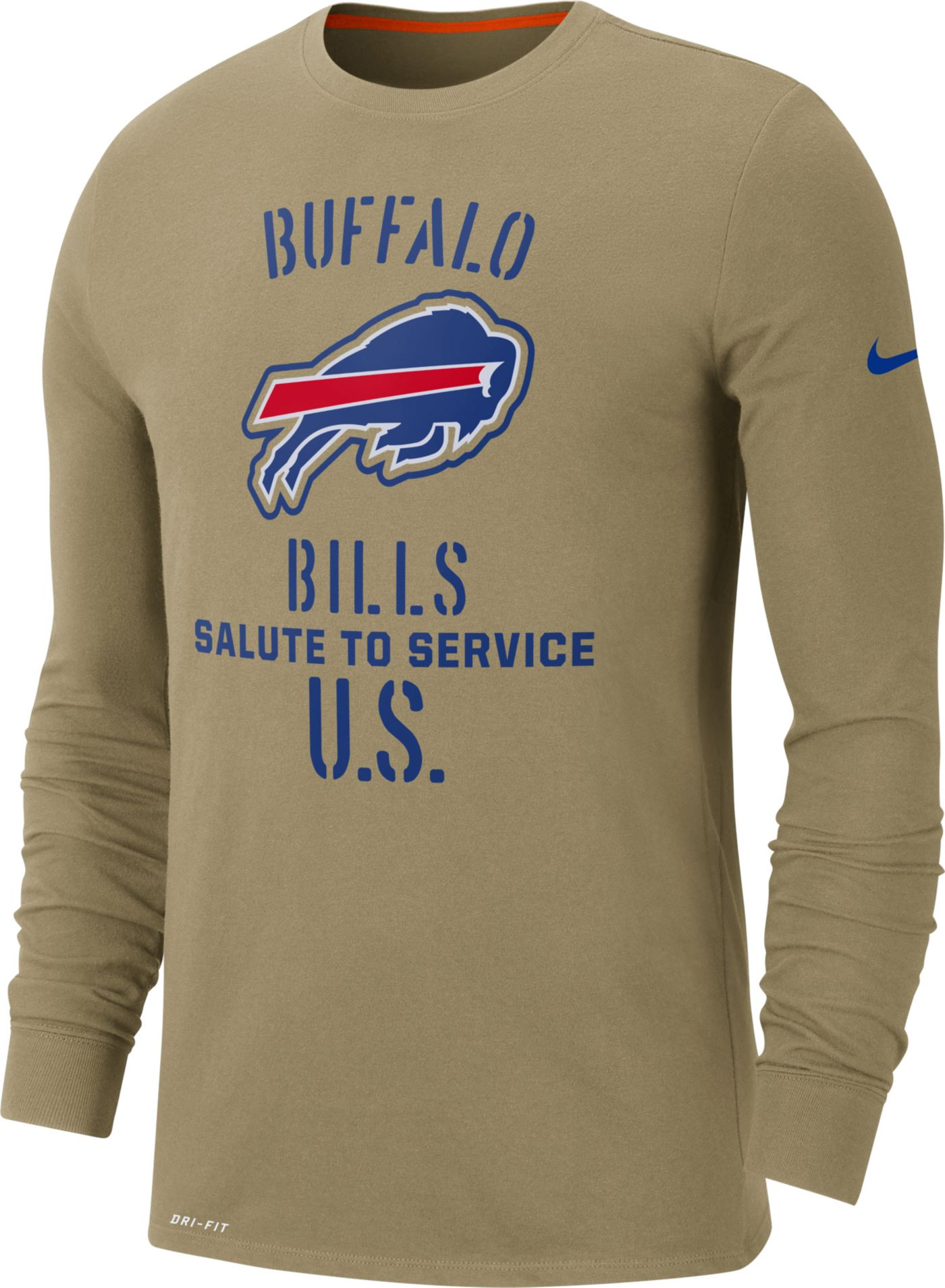 Nike Men's Salute to Service Buffalo Bills Dri-FIT Beige Long Sleeve Shirt