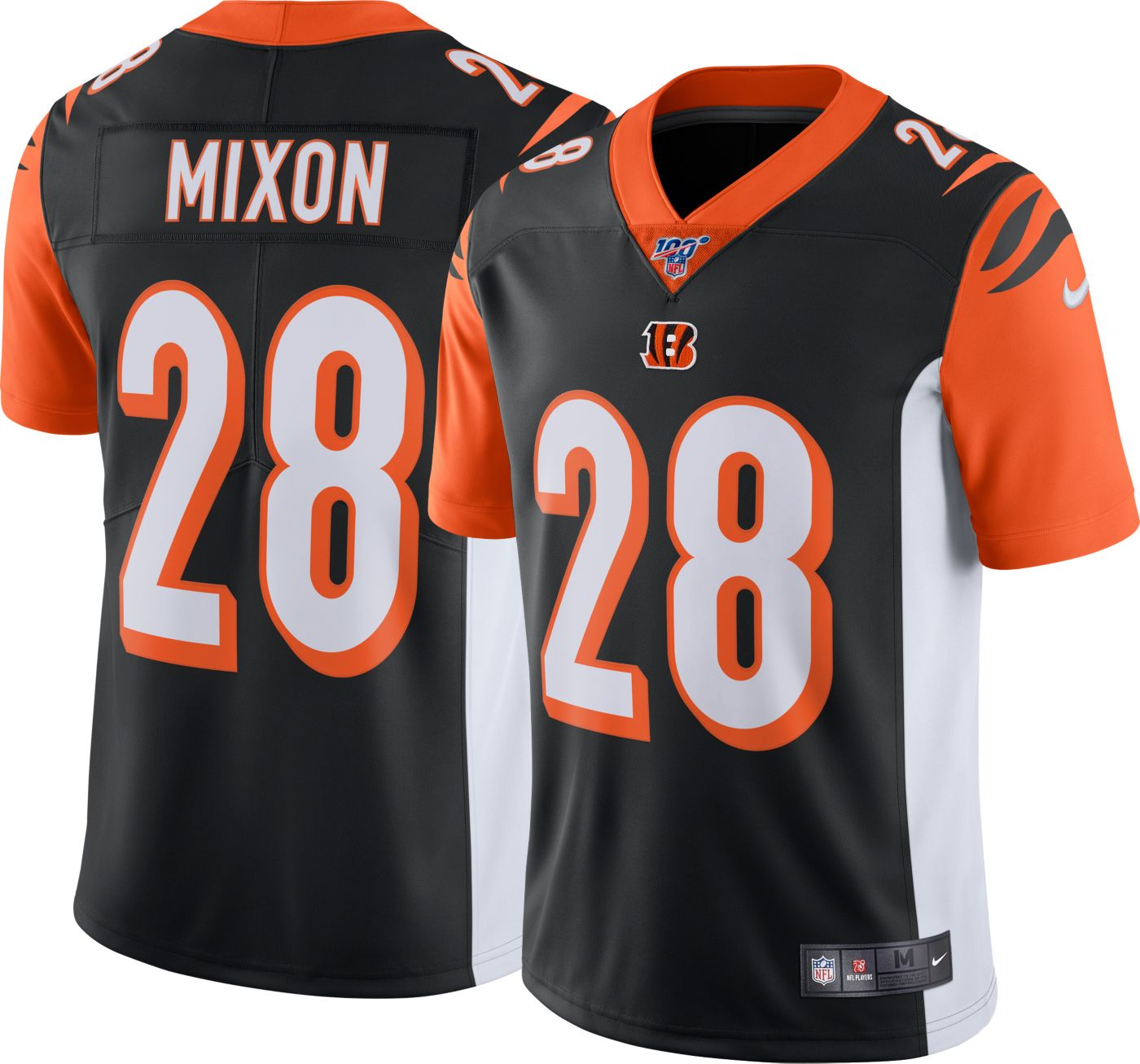 Nike Men's 100th Home Limited Jersey Cincinnati Bengals Joe Mixon #28