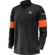 Nike Men's Cincinnati Bengals Sideline Coach Performance Black Half-Zip Pullover