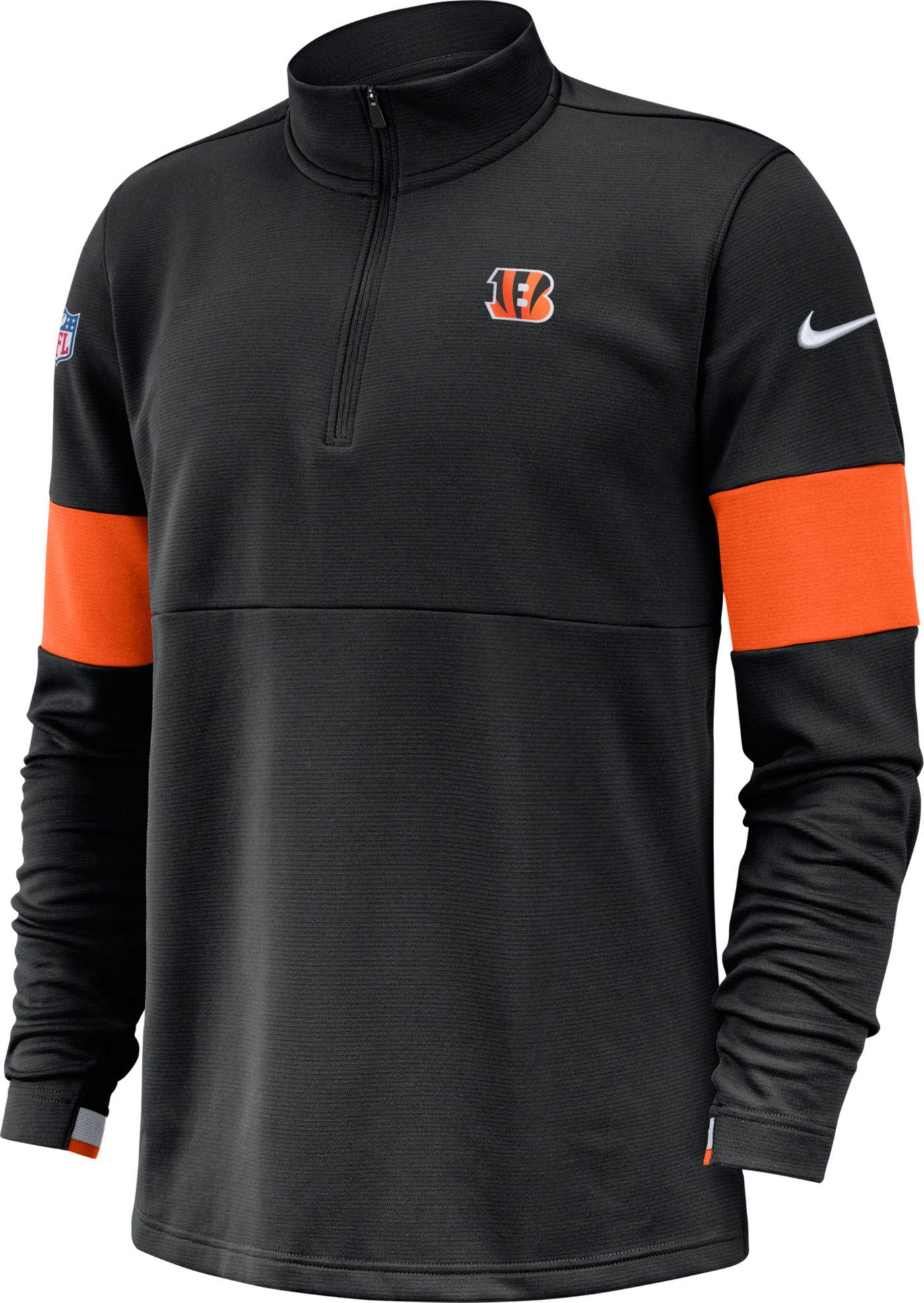 Nike Men's Cincinnati Bengals Sideline Coach Performance Black Half-Zip Pullover