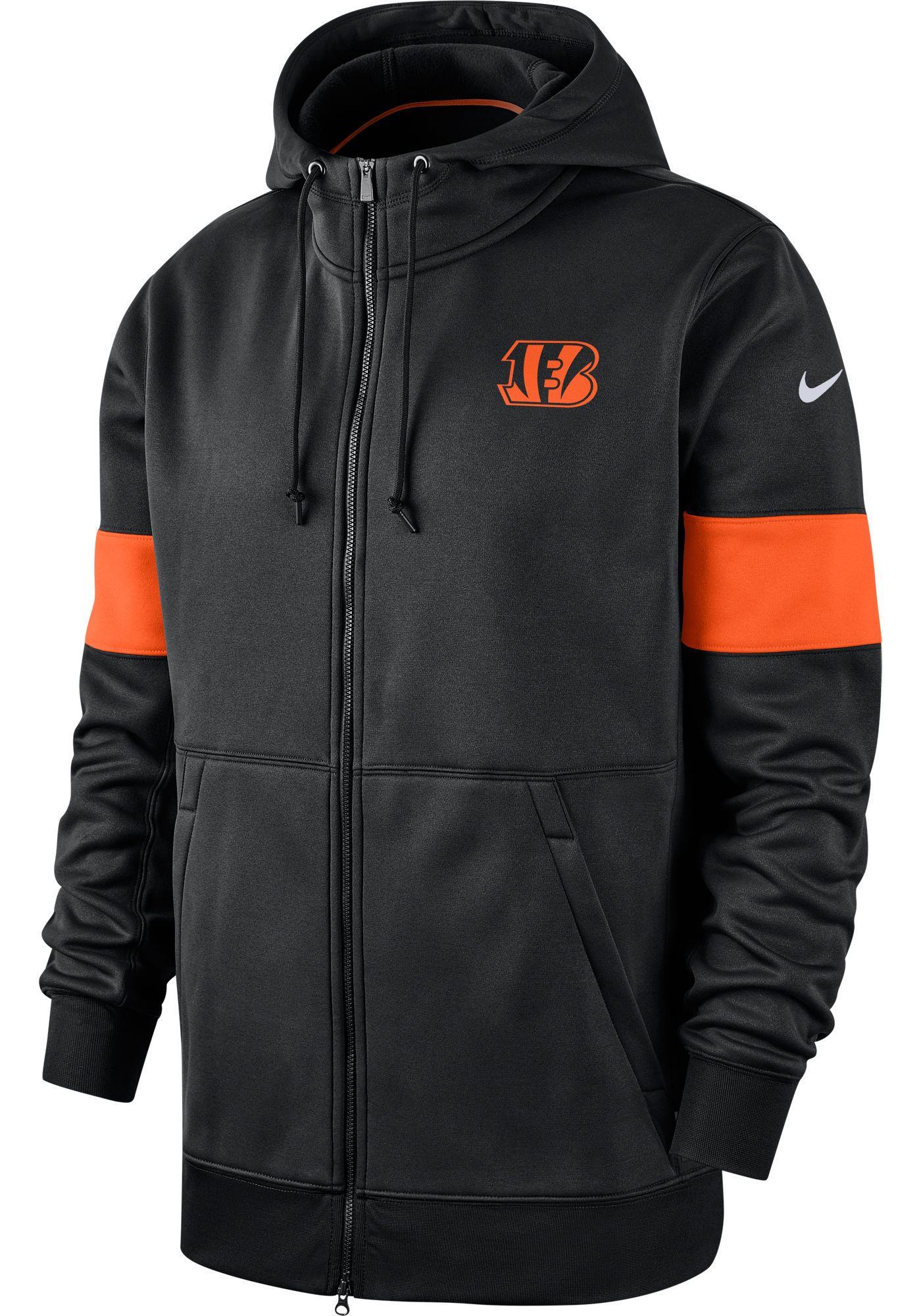 Nike Men's Cincinnati Bengals Sideline Therma-FIT Black Full-Zip Hoodie