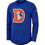 Nike Men's Denver Broncos Marled Historic Performance Royal Long Sleeve Shirt