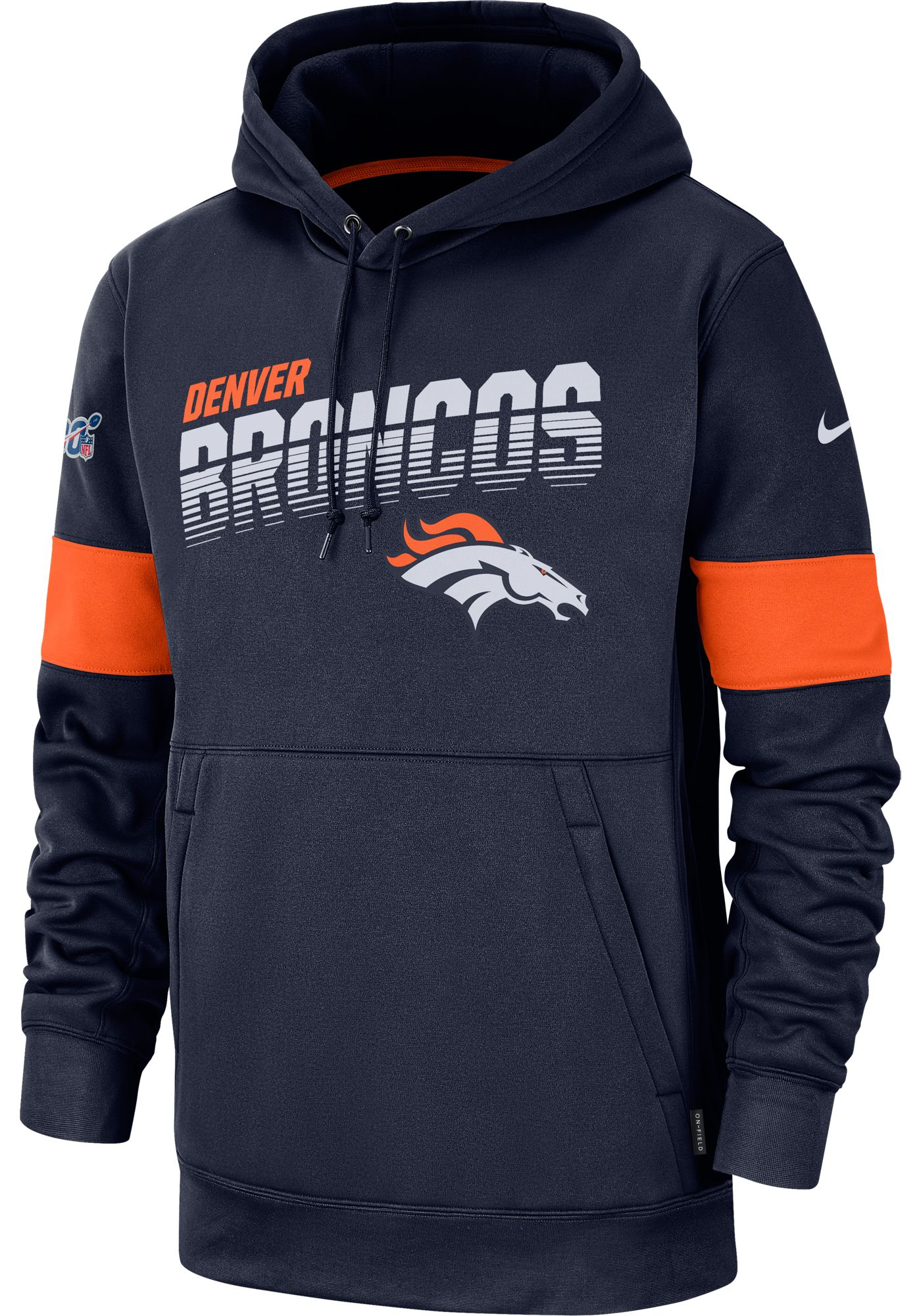 Nike Men's Denver Broncos 100th Sideline Therma-FIT Navy Pullover Hoodie