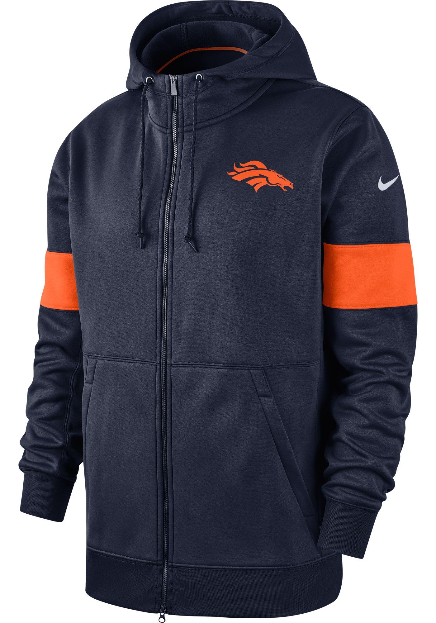 Nike Men's Denver Broncos Sideline Therma-FIT Navy Full-Zip Hoodie