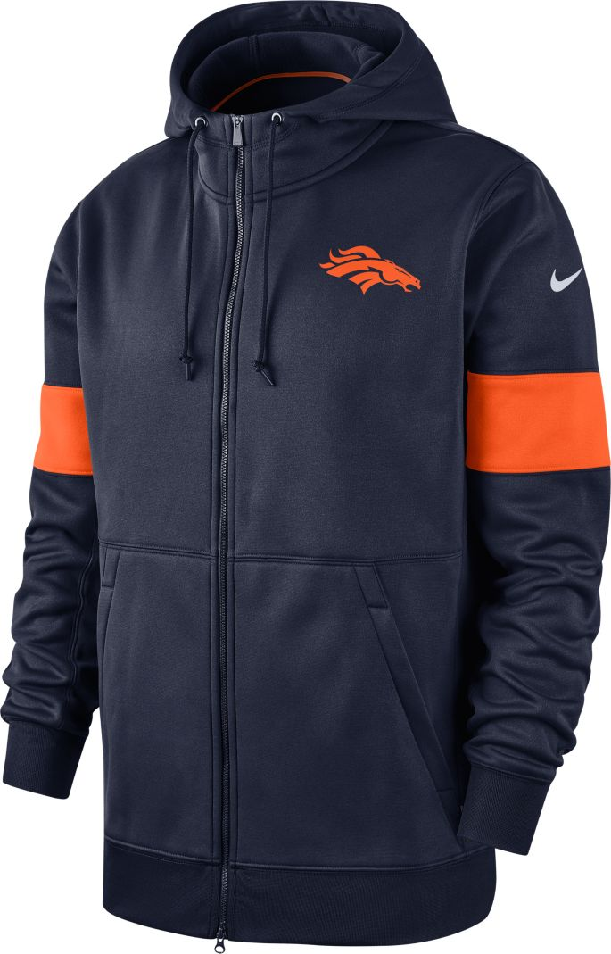 Nike Men's Denver Broncos Sideline Therma FIT Navy Full Zip Hoodie