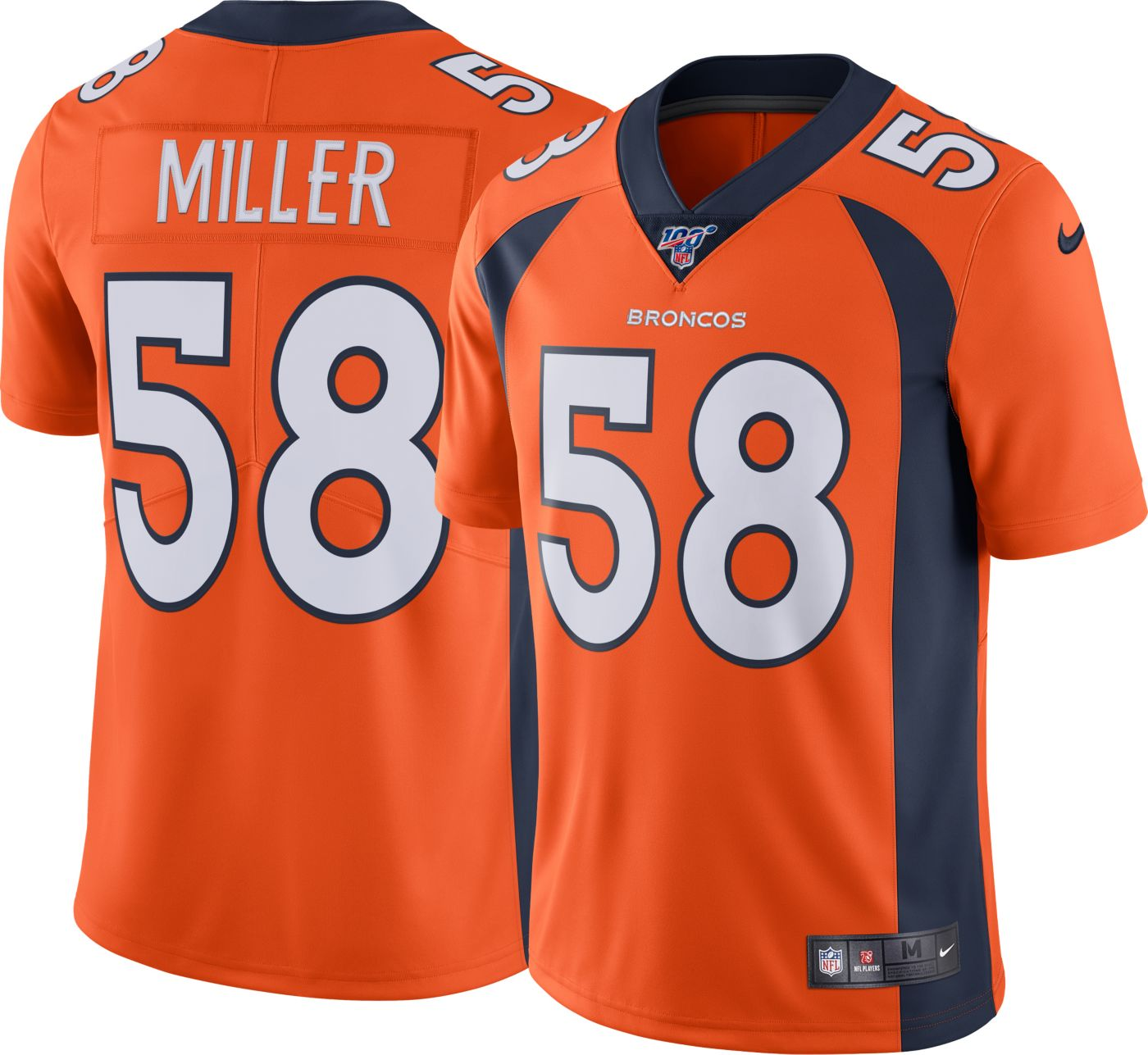 Nike Men's 100th Home Limited Jersey Denver Broncos Von Miller #58