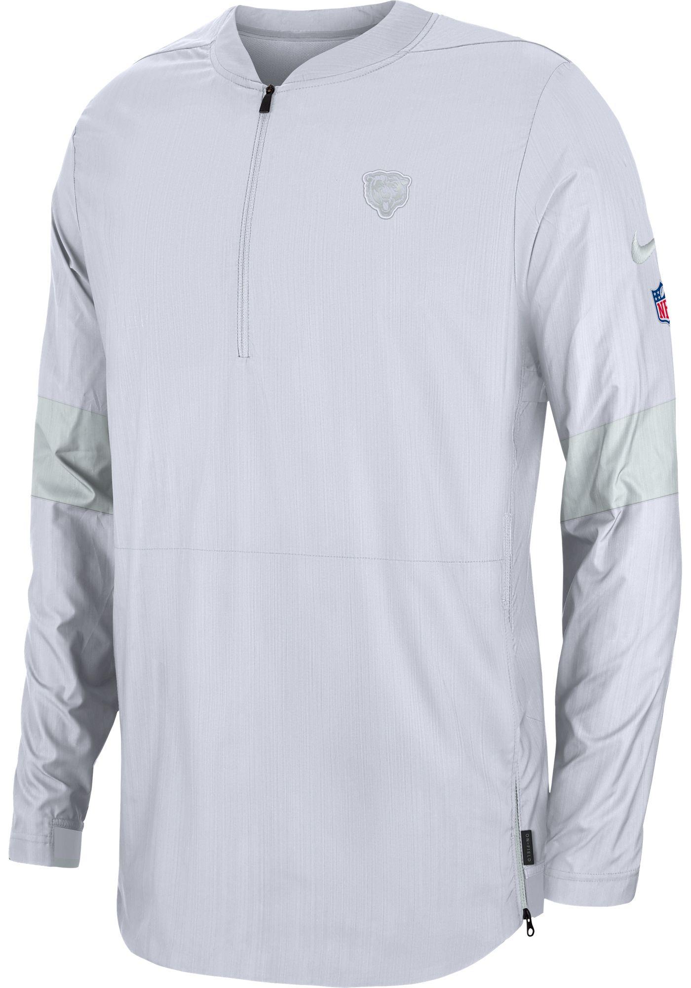 Nike Men's Chicago Bears Sideline Coach White Half-Zip Performance Jacket