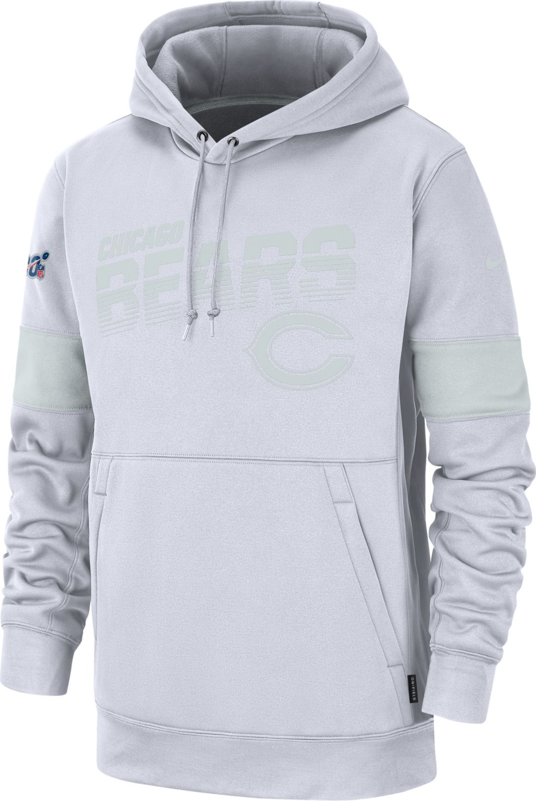 competitive price f2a9b b6565 Nike Men's Chicago Bears 100th Sideline Therma-FIT Pullover White Hoodie