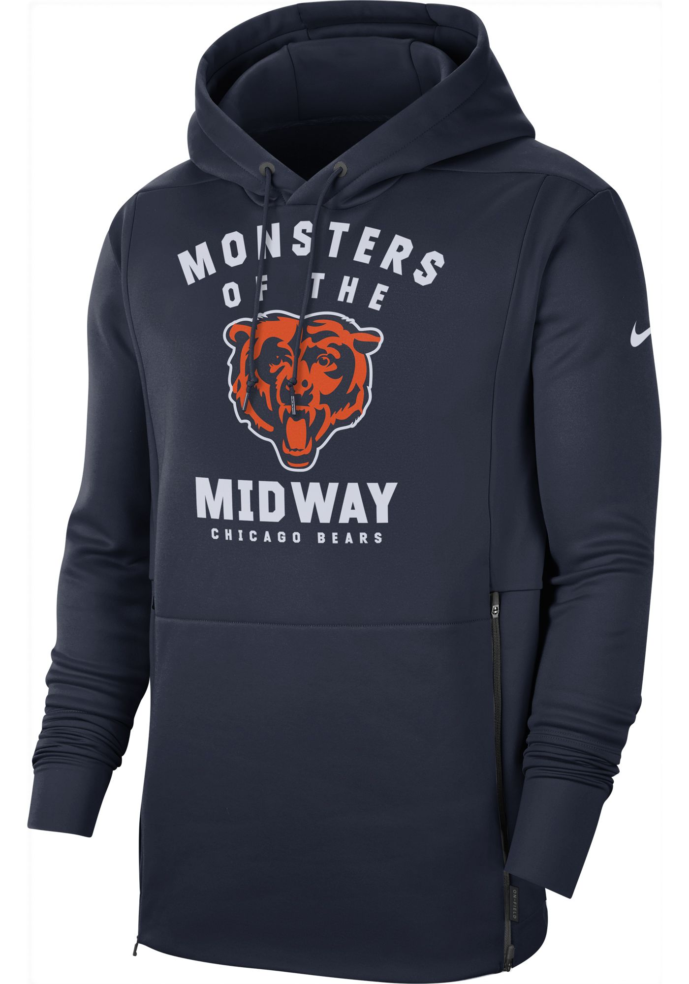Nike Men's Chicago Bears Sideline Therma-FIT Local Navy Performance Hoodie
