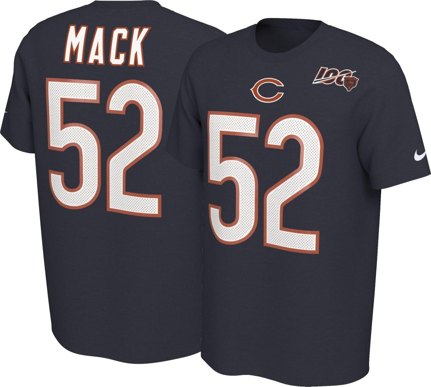 Nike Men's Chicago Bears Khalil Mack #52 100th Navy T-Shirt