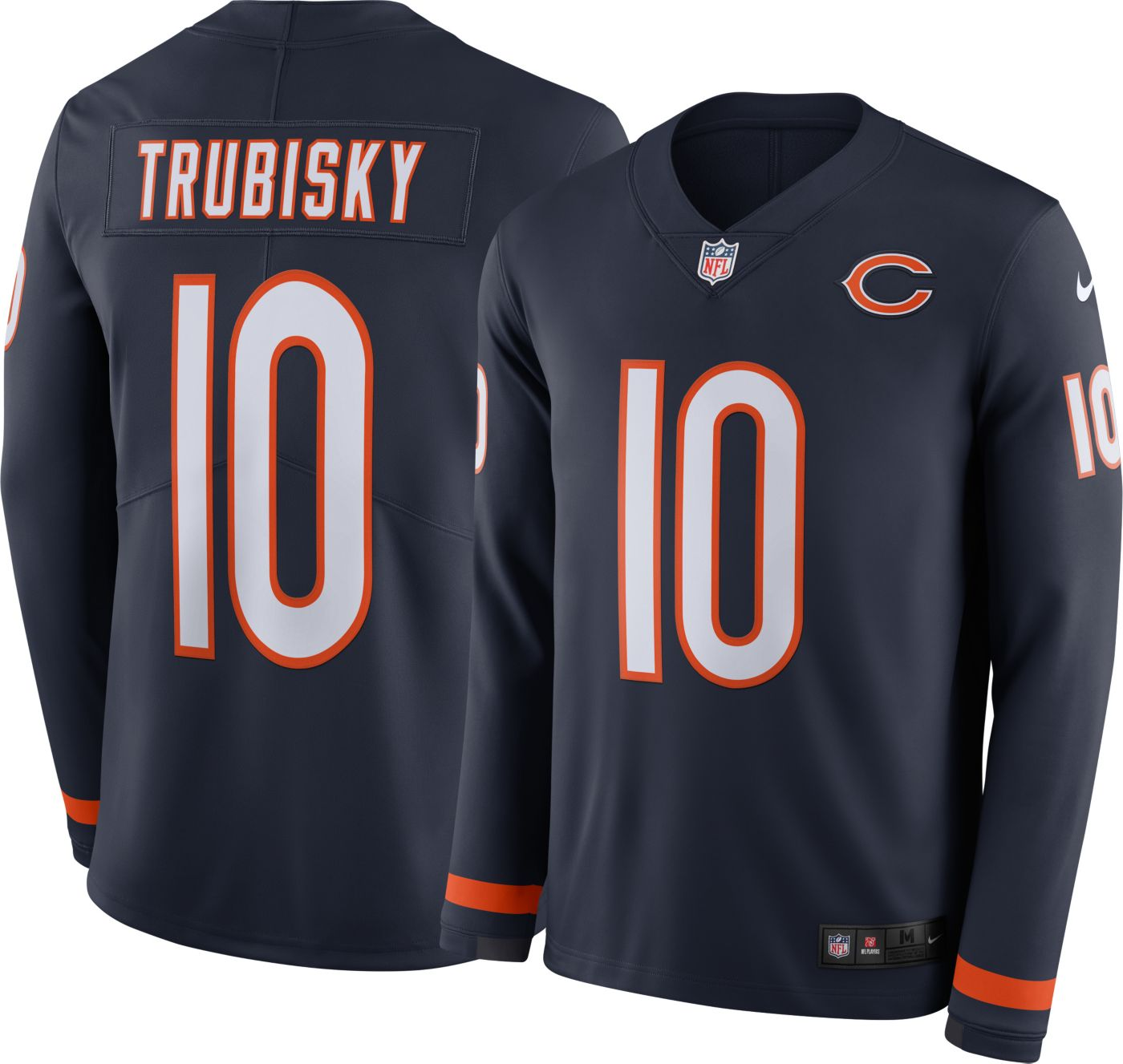 Nike Men's Chicago Bears Mitchell Trubisky #10 Therma-FIT Long Sleeve Jersey