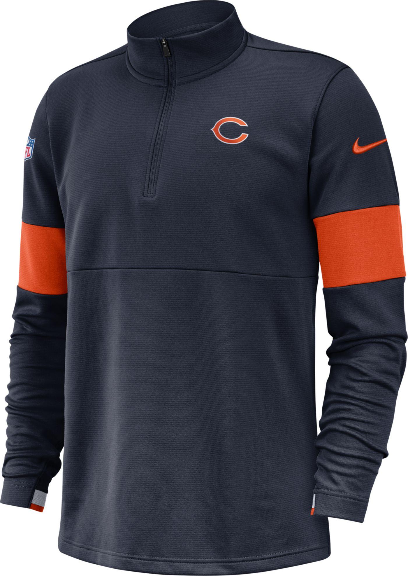 Nike Men's Chicago Bears Sideline Coach Performance Navy Half-Zip Pullover