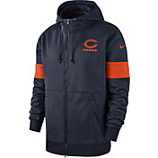 Nike Men's Chicago Bears Sideline Therma-FIT Navy Full-Zip Hoodie