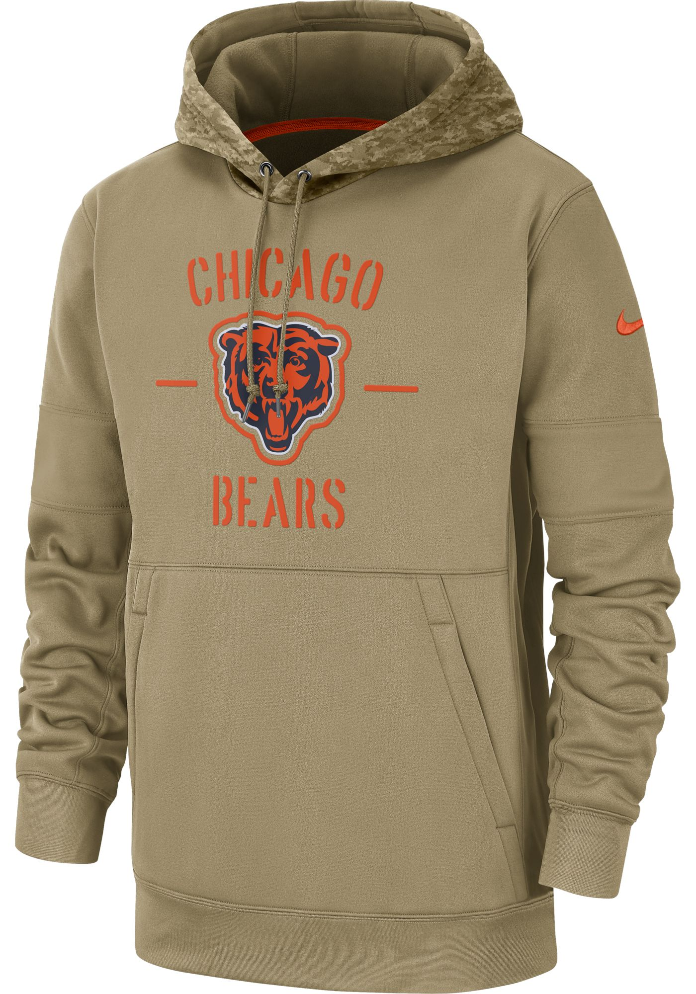 Nike Men's Salute to Service Chicago Bears Therma-FIT Beige Camo Hoodie