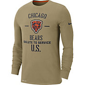 Nike Men's Salute to Service Chicago Bears Dri-FIT Beige Long Sleeve Shirt