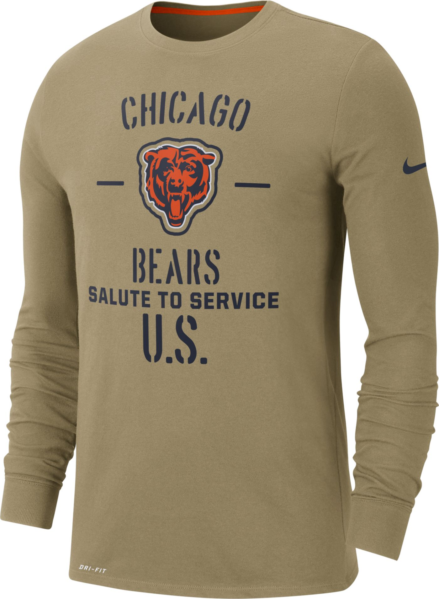 Nike Men's Salute to Service Chicago Bears Dri-FIT Beige Long Sleeve Shirt