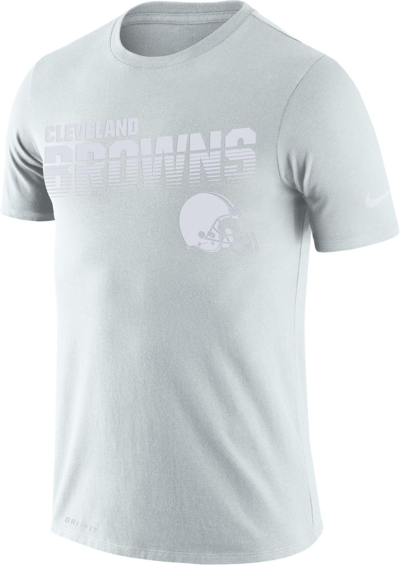 Nike Men's Cleveland Browns 100th Sideline Legend Performance White T-Shirt