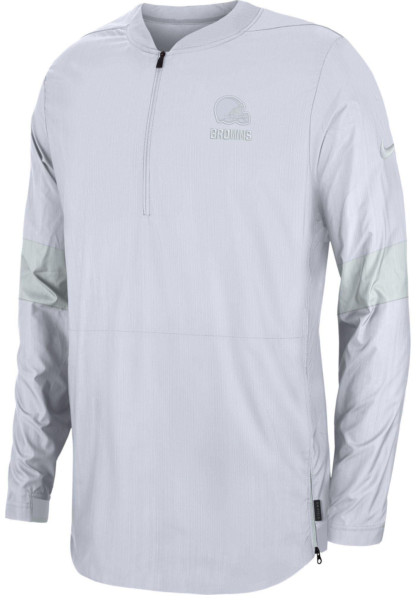 Nike Men's Cleveland Browns Sideline Coach White Half-Zip Performance Jacket