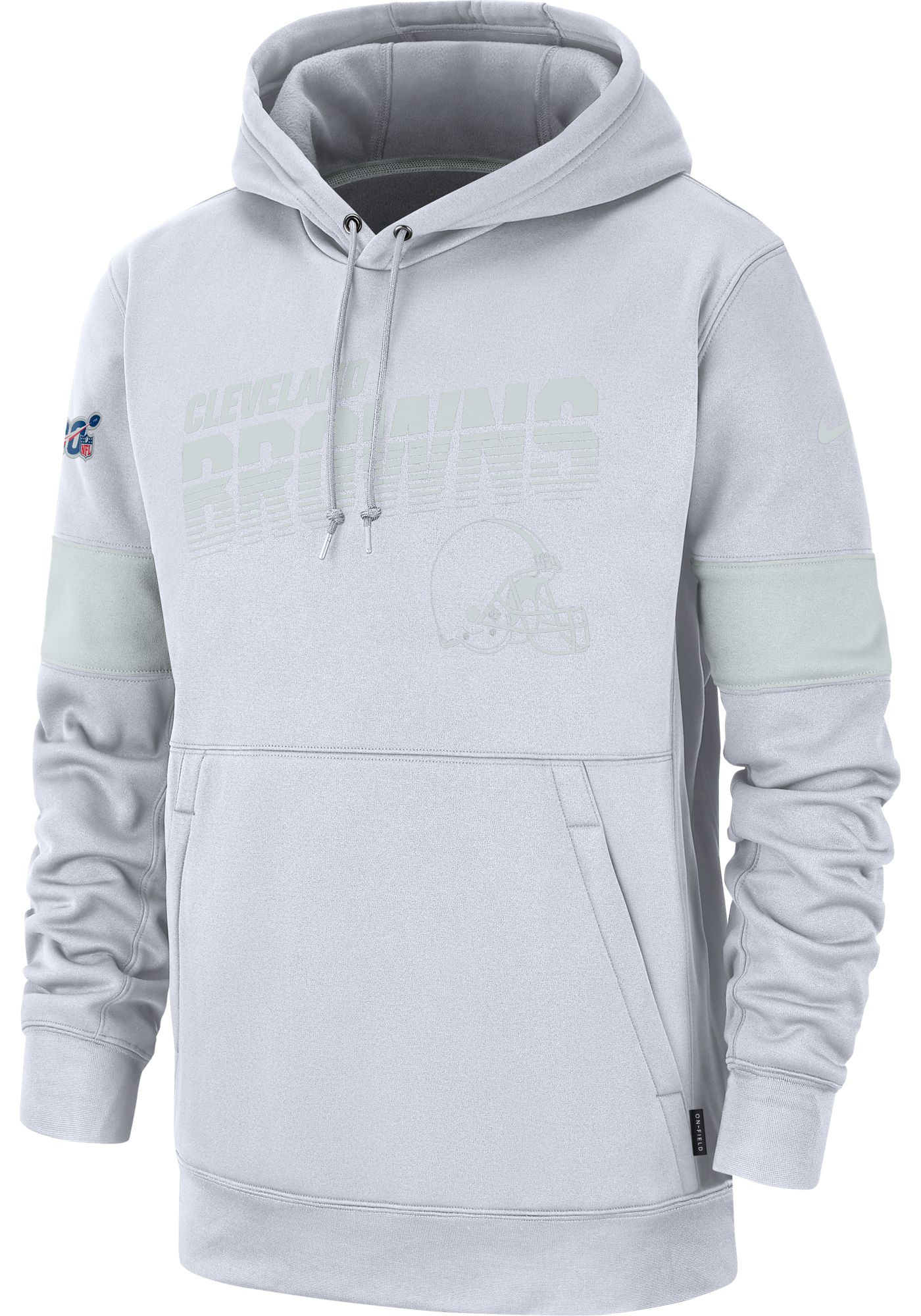 Nike Men's Cleveland Browns 100th Sideline Therma-FIT Pullover White Hoodie