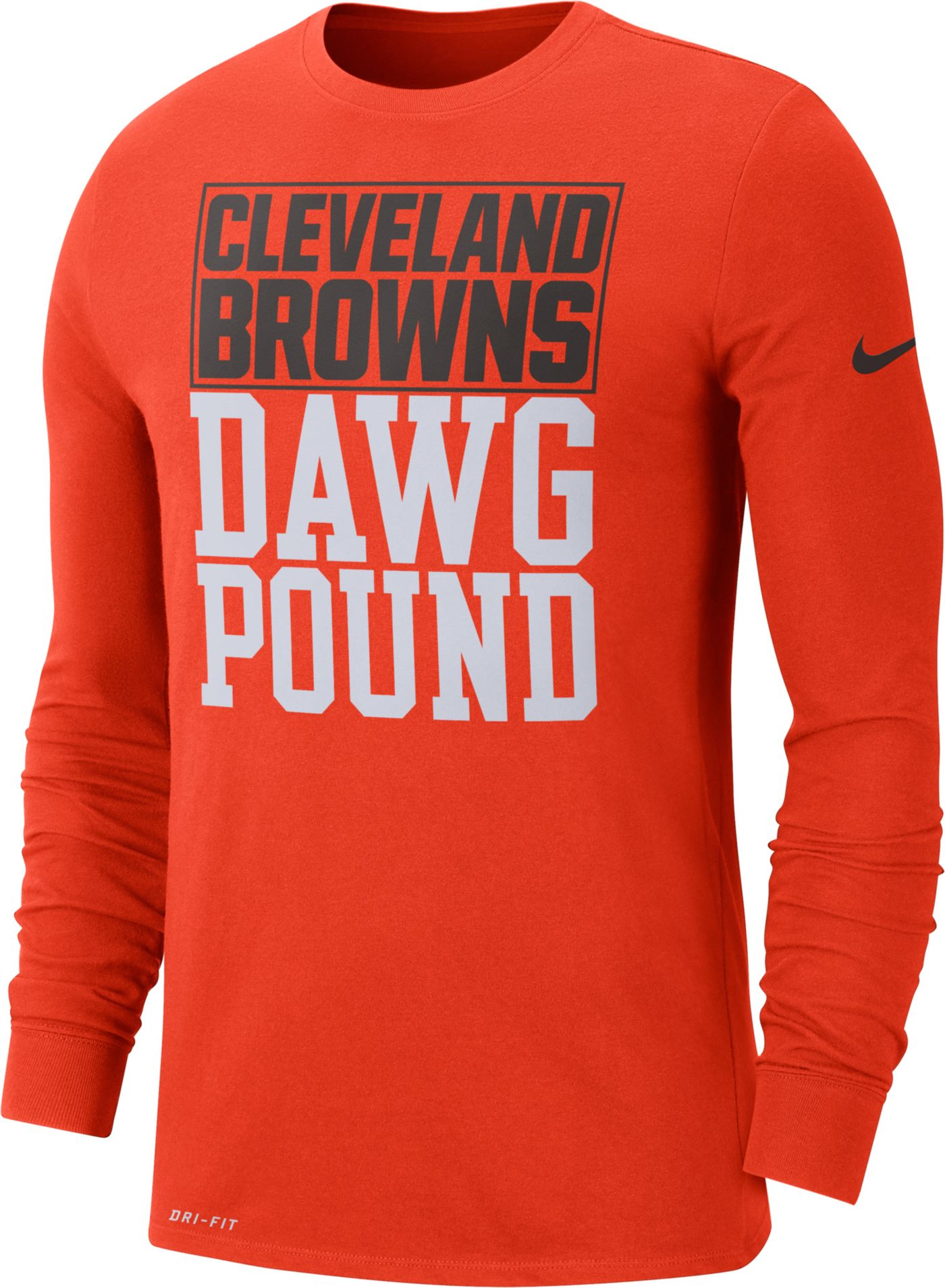 Nike Men's Cleveland Browns Local Long Sleeve Orange Performance Shirt