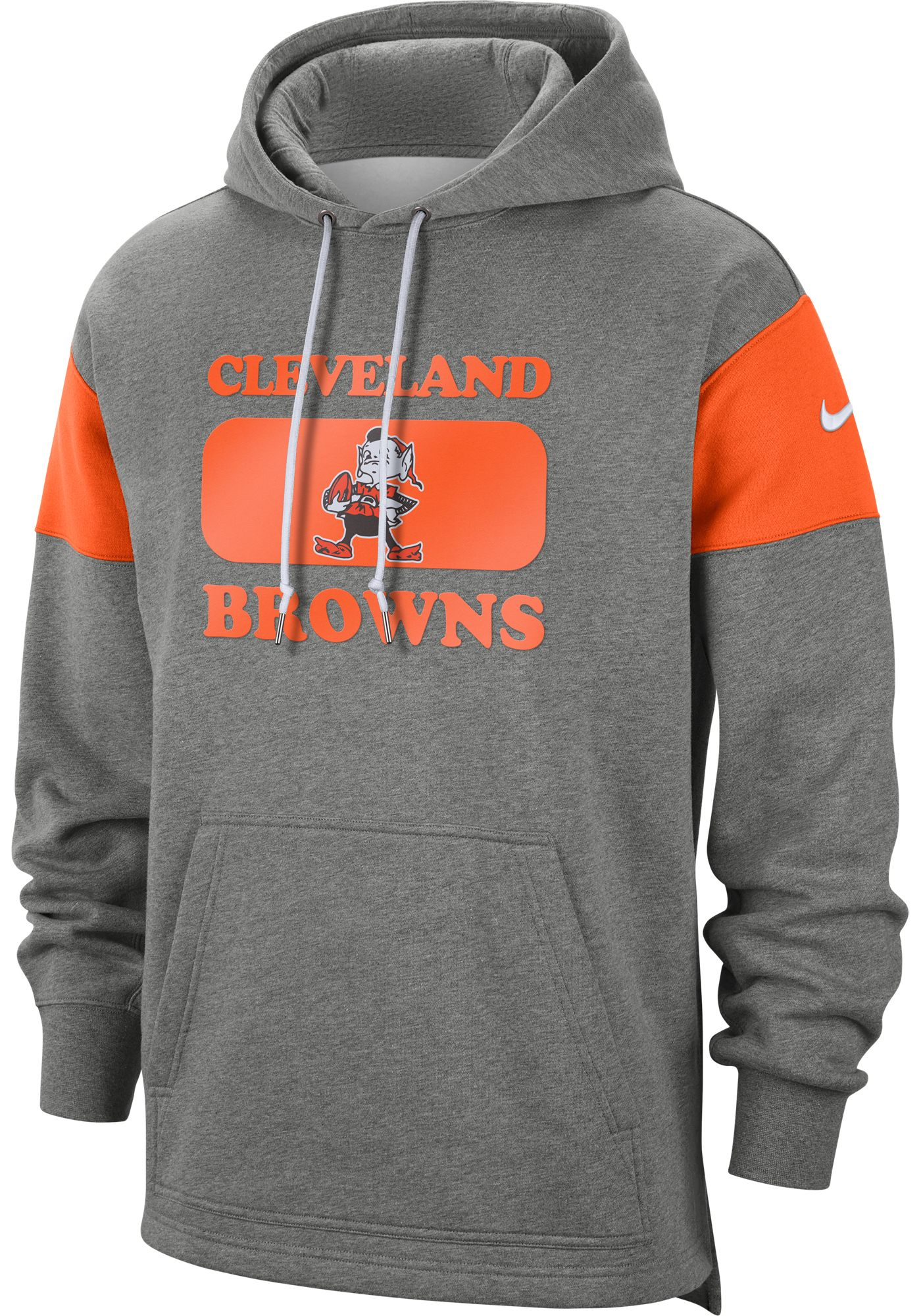 Nike Men's Cleveland Browns Historic Pullover Grey Hoodie