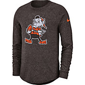 Nike Men's Cleveland Browns Marled Historic Performance Brown Long Sleeve Shirt