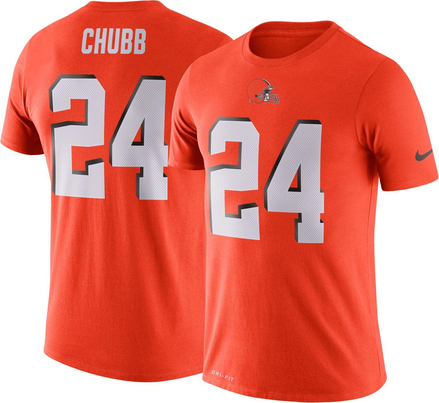 Nike Men's Cleveland Browns Nick Chubb #24 Logo Orange T-Shirt