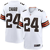 Nike Men's Cleveland Browns Nick Chubb #24 Away White Game Jersey