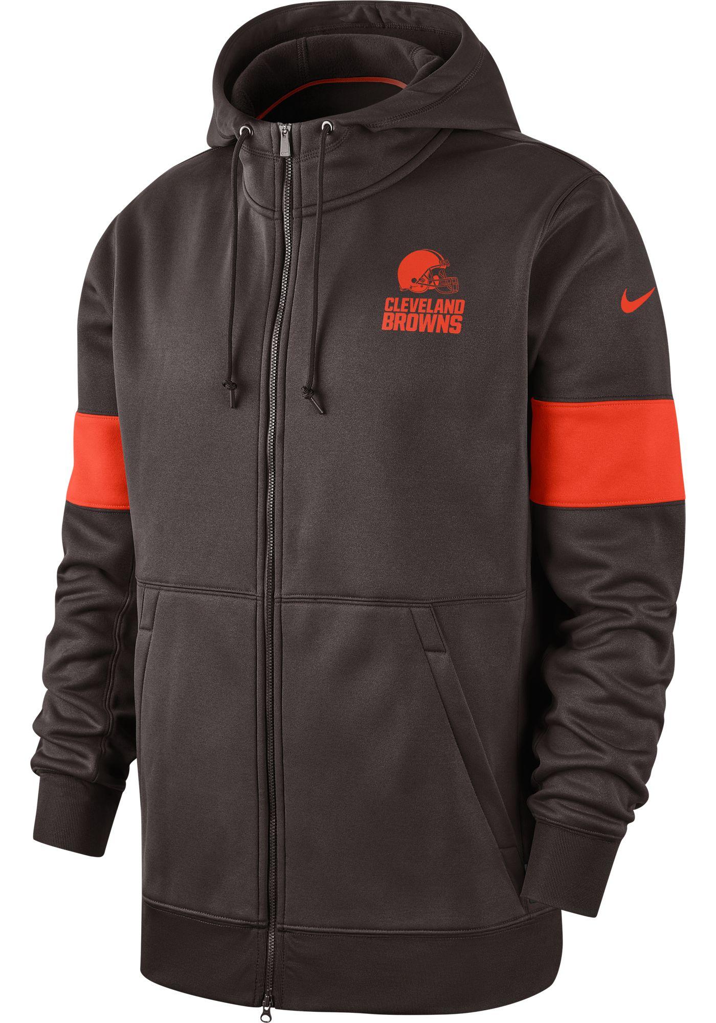 Nike Men's Cleveland Browns Sideline Therma-FIT Brown Full-Zip Hoodie