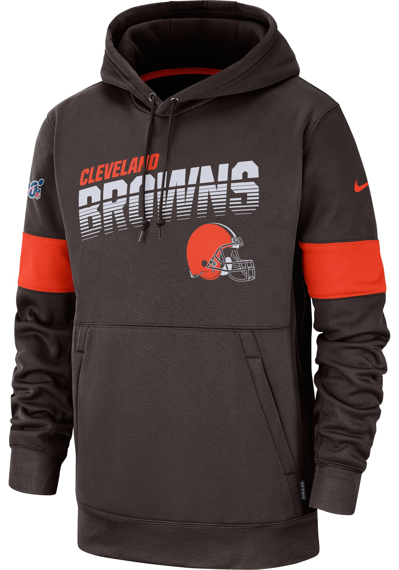 Nike Men's Cleveland Browns 100th Sideline Therma-FIT Brown Pullover Hoodie