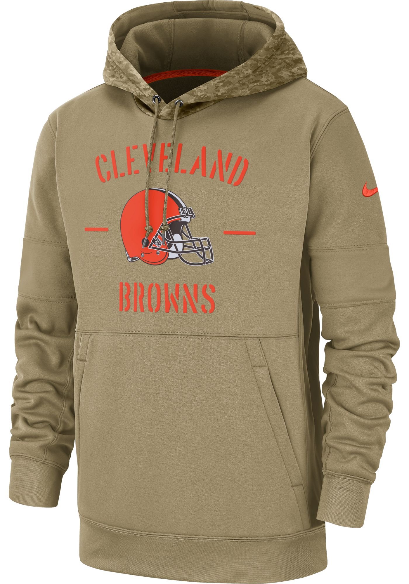 Nike Men's Salute to Service Cleveland Browns Therma-FIT Beige Camo Hoodie