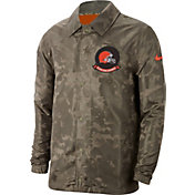 Nike Men's Salute to Service Cleveland Browns Olive Lightweight Camo Jacket