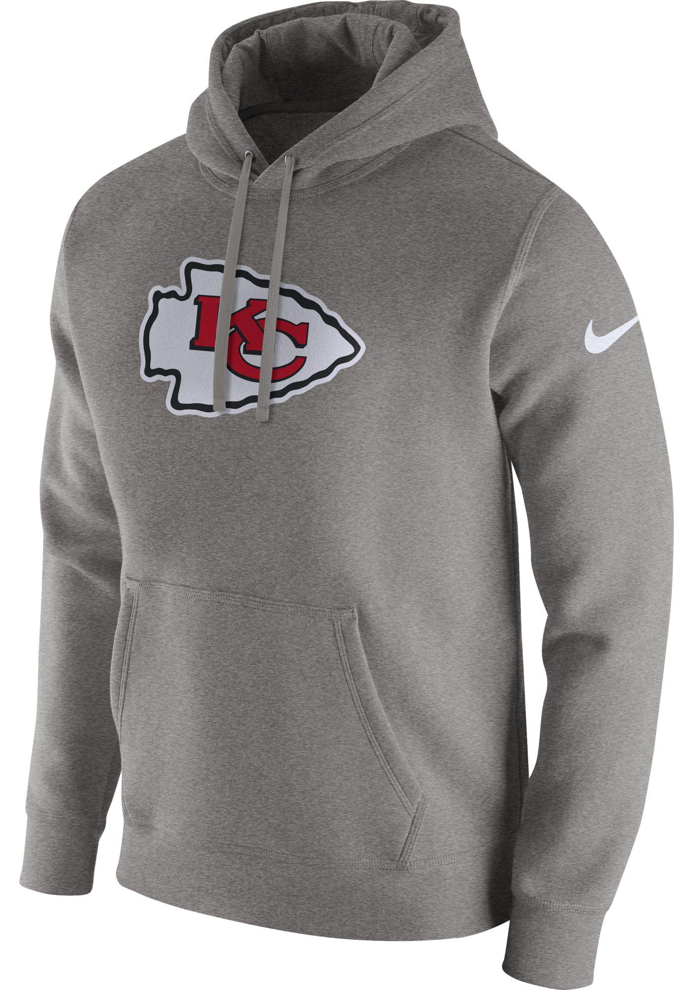 Nike Men's Kansas City Chiefs Logo Club Grey Hoodie