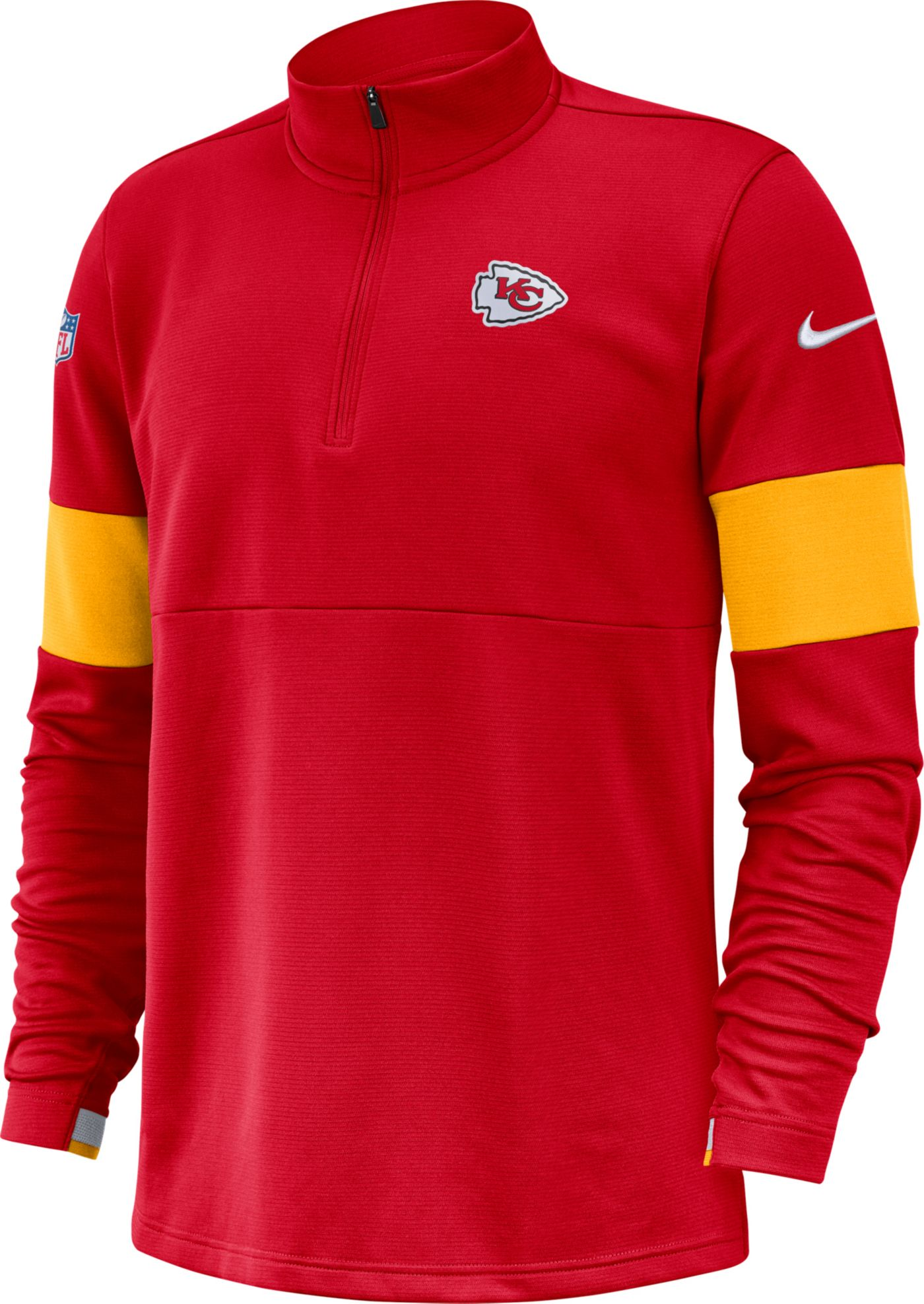 Nike Men's Kansas City Chiefs Sideline Coach Performance Red Half-Zip Pullover