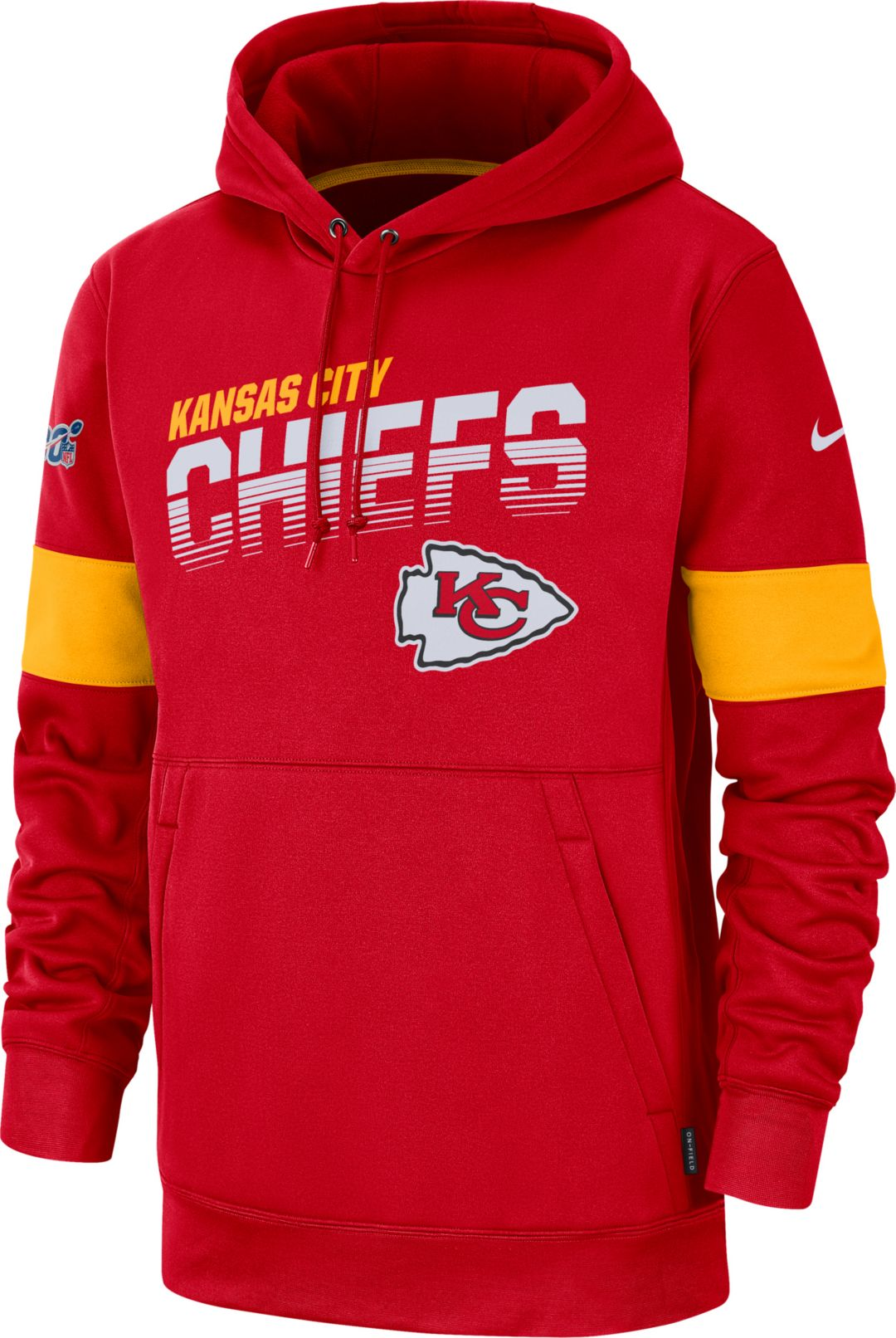 new concept f4cc3 230d2 Nike Men's Kansas City Chiefs 100th Sideline Therma-FIT Red Pullover Hoodie