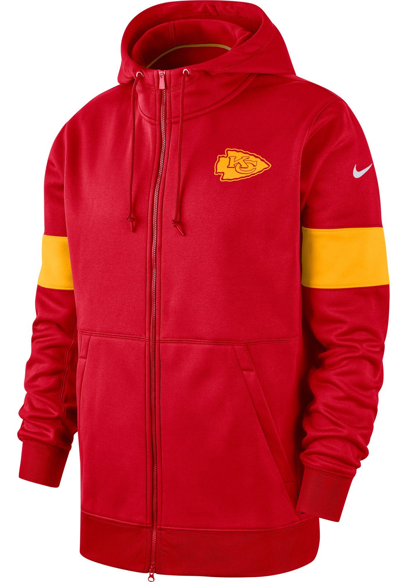 Nike Men's Kansas City Chiefs Sideline Therma-FIT Red Full-Zip Hoodie