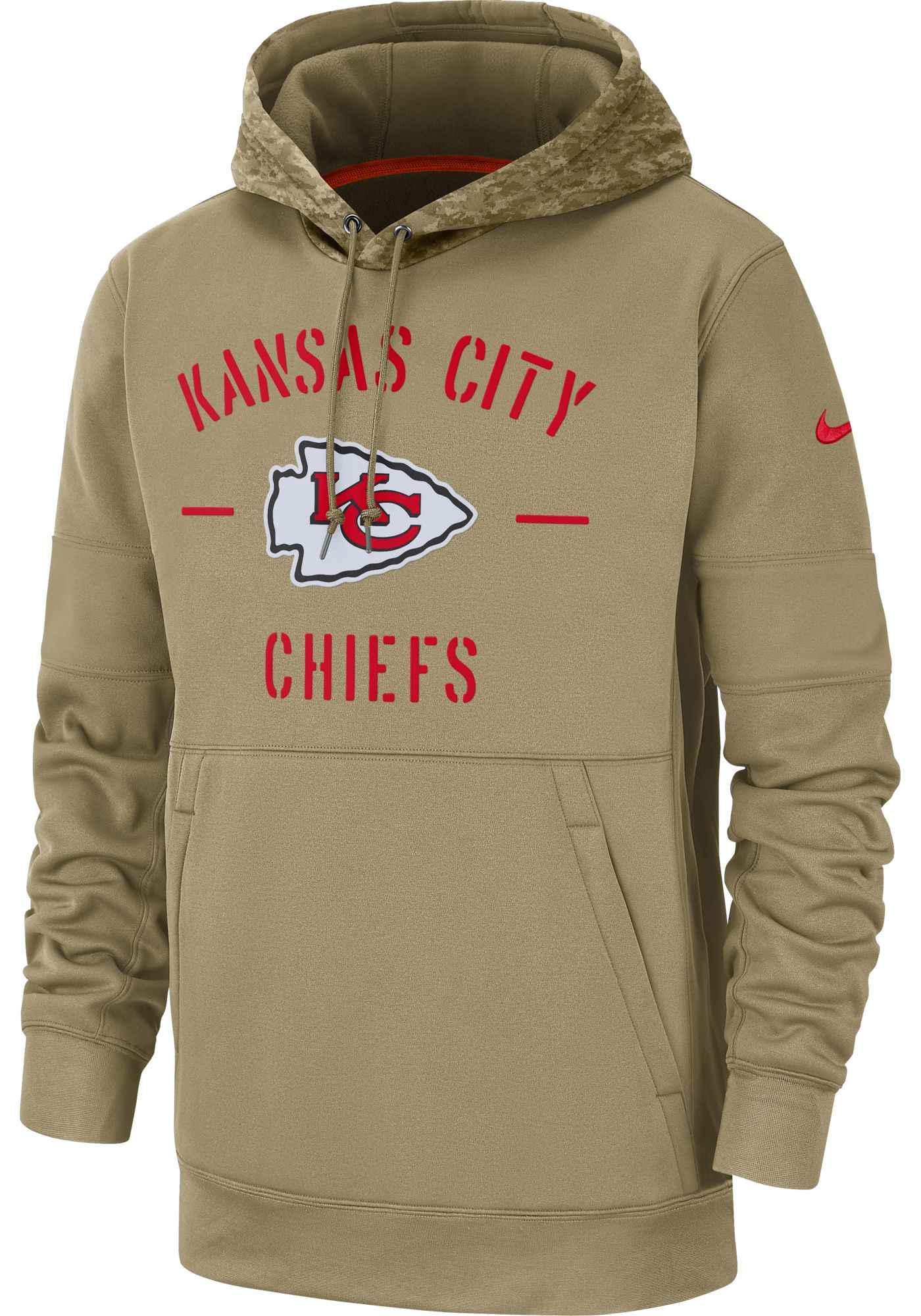 Nike Men's Salute to Service Kansas City Chiefs Therma-FIT Beige Camo Hoodie