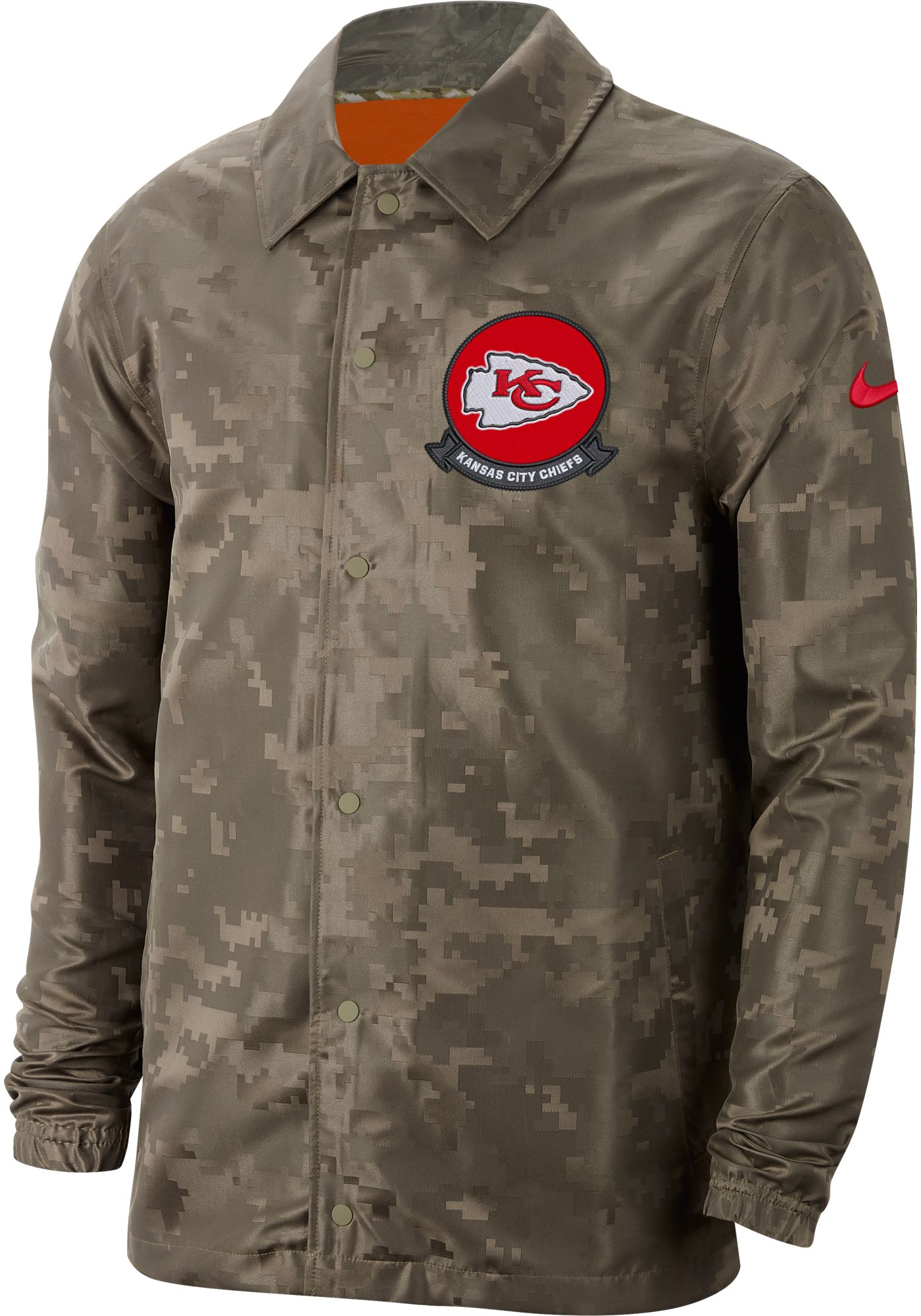 Nike Men's Salute to Service Kansas City Chiefs Olive Lightweight Camo Jacket