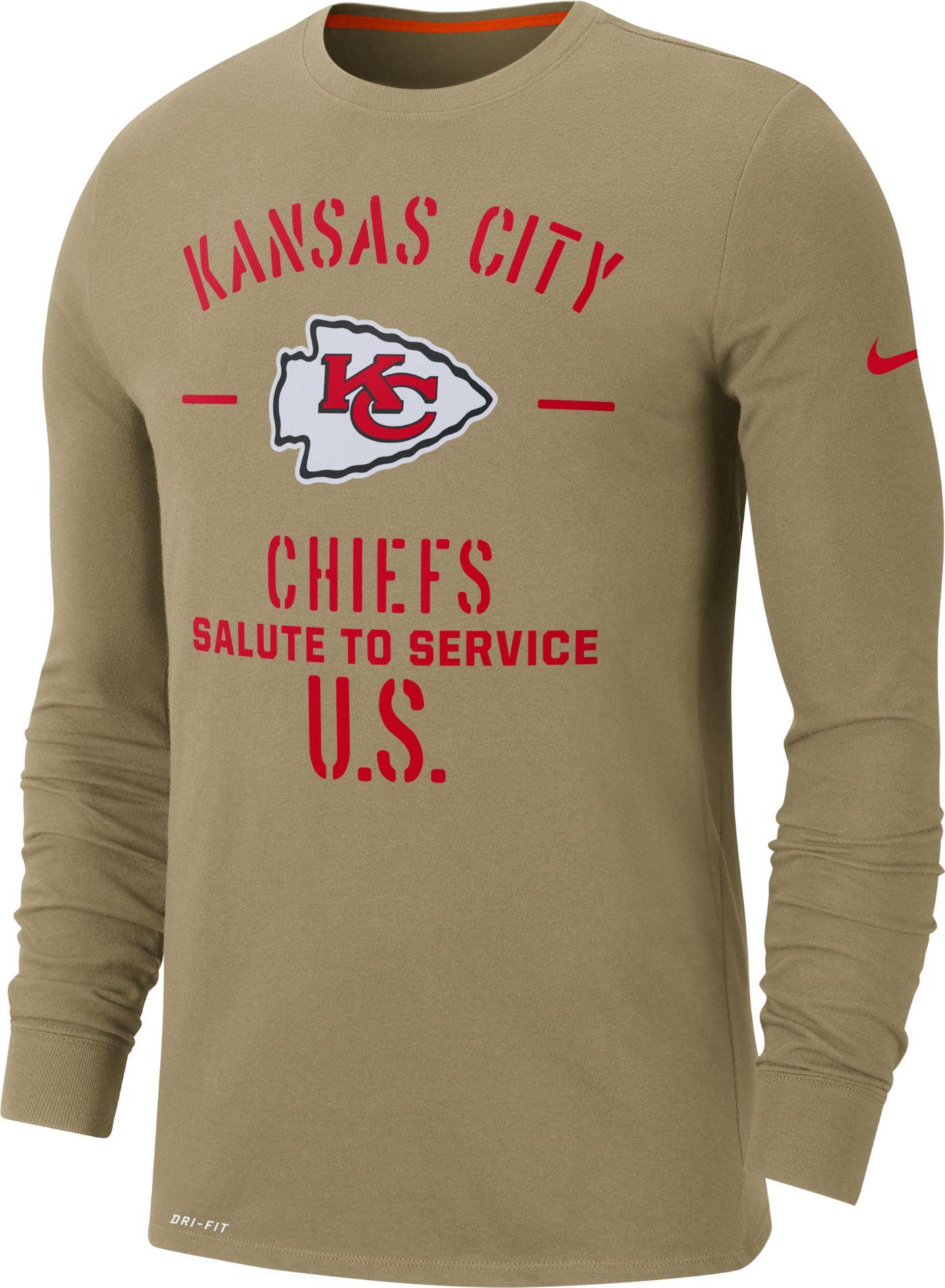 Nike Men's Salute to Service Kansas City Chiefs Dri-FIT Beige Long Sleeve Shirt