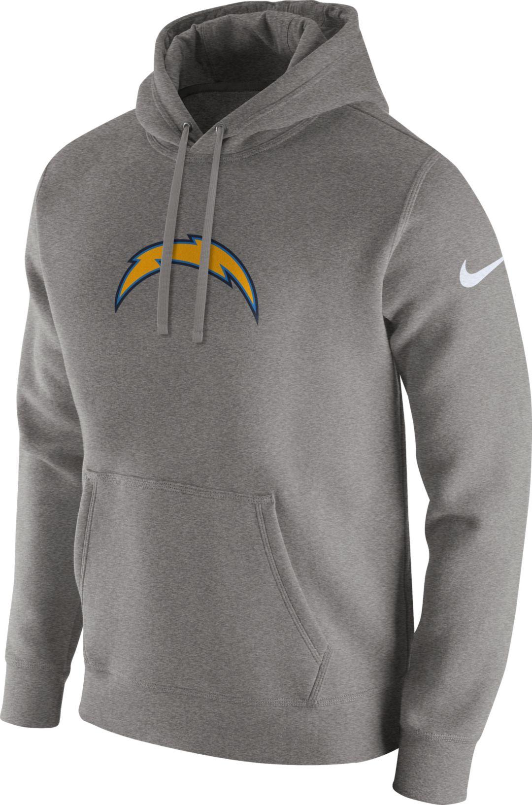 huge discount 793de 814e7 Nike Men's Los Angeles Chargers Logo Club Grey Hoodie