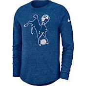 Nike Men's Indianapolis Colts Marled Historic Performance Blue Long Sleeve Shirt