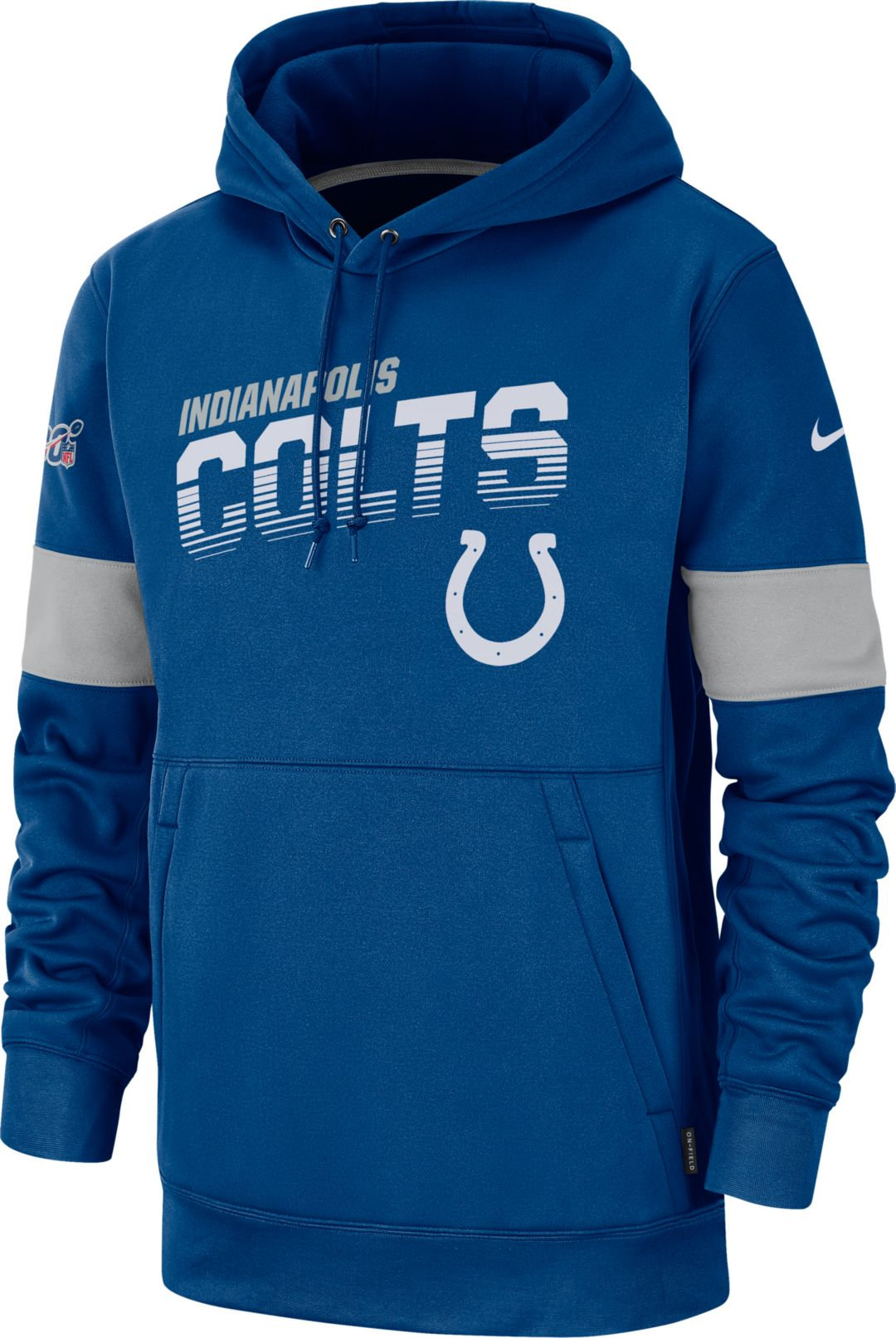 65f9a253 Nike Men's Indianapolis Colts 100th Sideline Therma-FIT Blue Pullover Hoodie