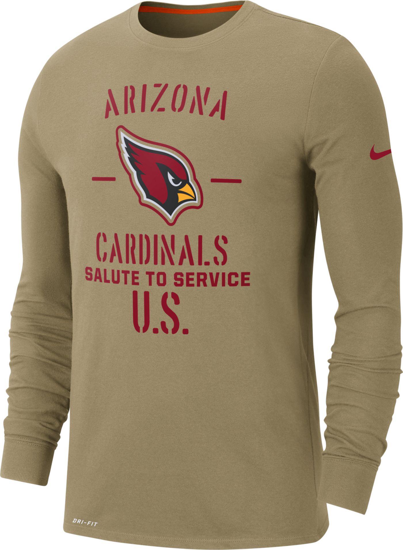 Nike Men's Salute to Service Arizona Cardinals Dri-FIT Beige Long Sleeve Shirt