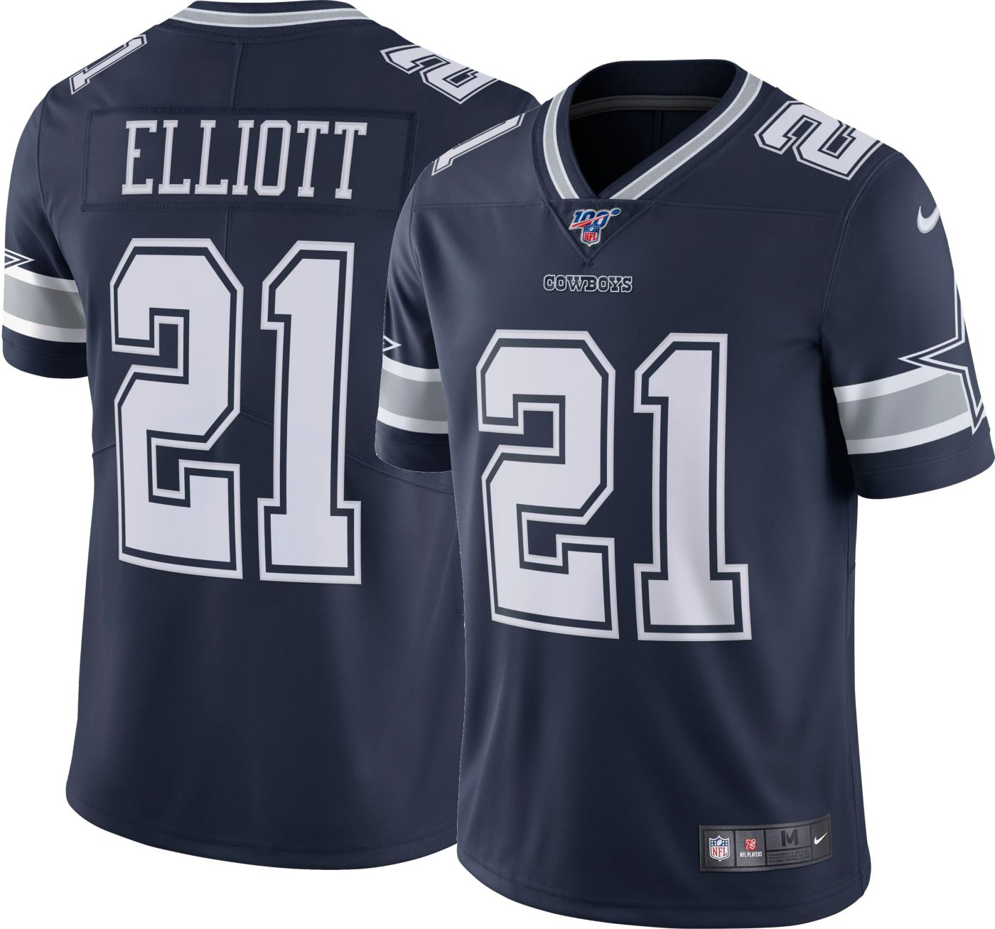 Nike Men's 100th Home Limited Jersey Dallas Cowboys Ezekiel Elliott #21