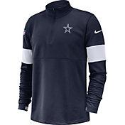 Nike Men's Dallas Cowboys Sideline Coach Performance Navy Half-Zip Pullover