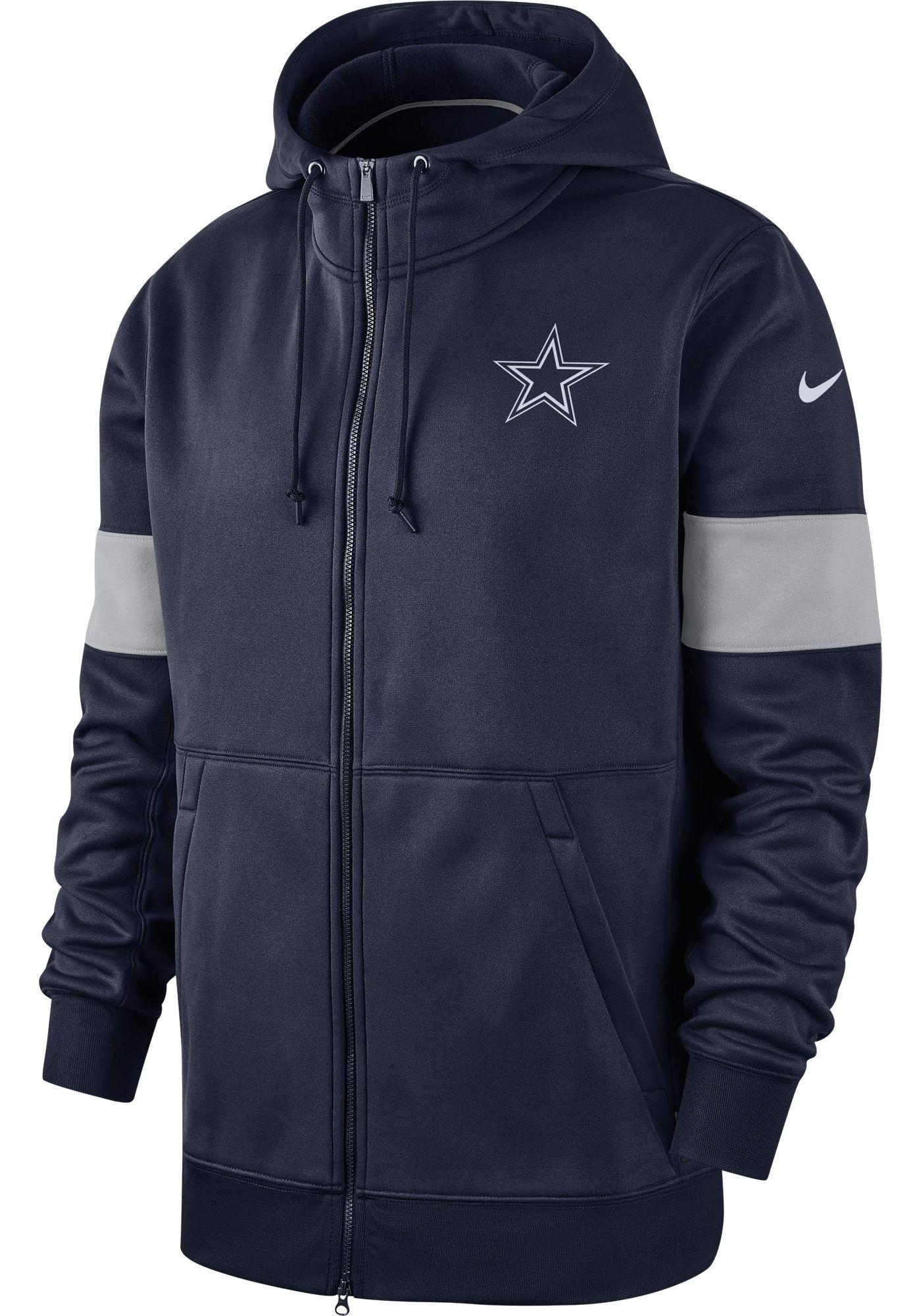 Nike Men's Dallas Cowboys Sideline Therma-FIT Navy Full-Zip Hoodie