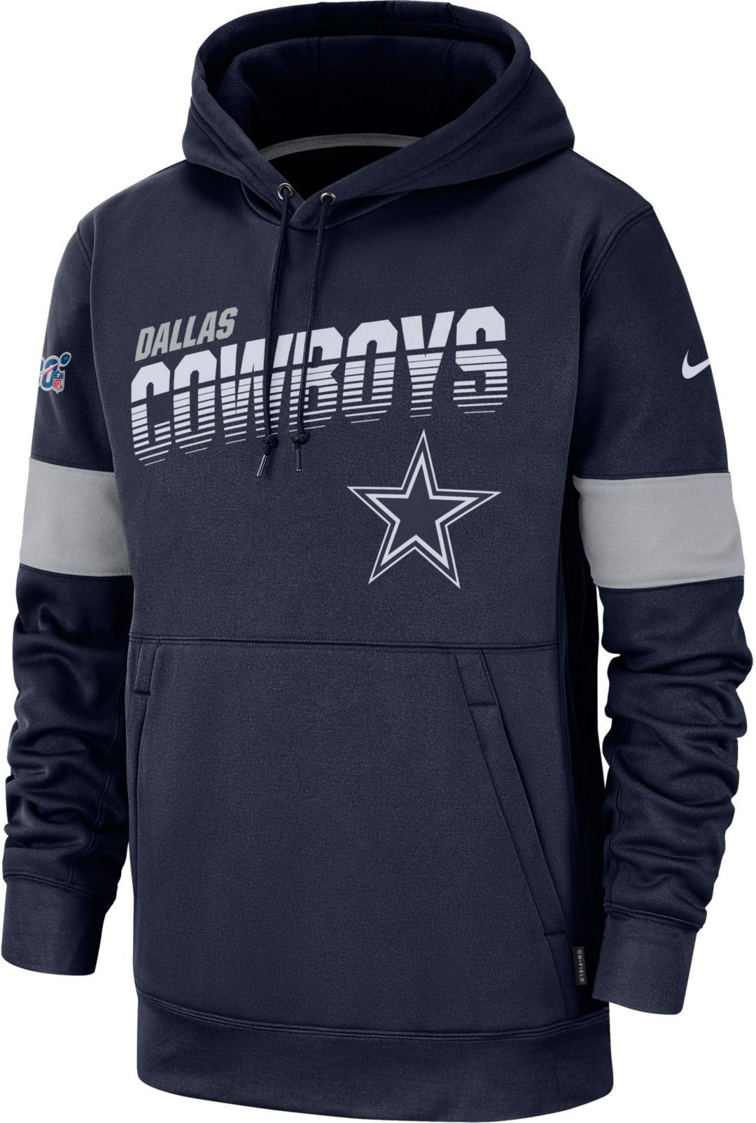 promo code 010c6 bd989 Nike Men's Dallas Cowboys 100th Sideline Therma-FIT Navy Pullover Hoodie